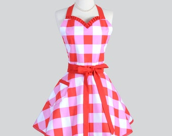 Sweetheart Retro Apron - Vintage Large Red and Pink Gingham Full Kitchen Apron