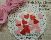 """100 Pack 1/4"""" Red Pink Glitter Heart Die Cut Table Confetti  / (ref dies) 1- 3 Day Shipping"""