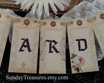 Cards Banner / Sign / Garland / for Wedding Card Box Trunk Suitcase  Rustic Vintage Shabby Decoration/ CHOOSE TEXT / 3 Day Ship (refCban)