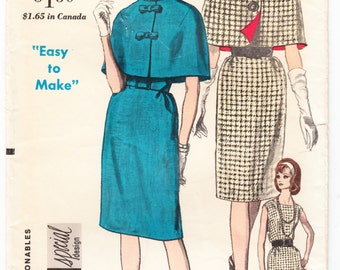 Vintage 1962 Vogue 5517 Sewing Pattern Misses' One-Piece Dress and Cape Size 12 Bust 32