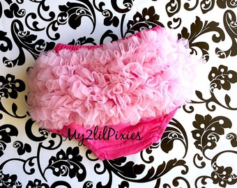 VALENTINES Day Ruffle Bloomer, Chiffon Ruffle Bum Baby Bloomers ,Diaper cover, Baby Girl Bloomers- Photo Prop - Pink bloomer