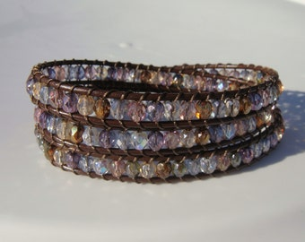 Colorful Beaded Leather Wrap Bracelet