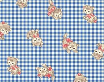 Little World Pink Pocket Kitten Cotton Fabric by Quilt Gate Blue Gingham LW1907-11A