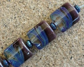 Lampwork Glass Pillow Beads - Purple Prairie Winds - Pair - (2) - SRA