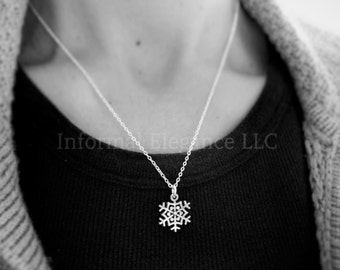 Antiqued Silver Plated Snowflake Pendant Necklace with chain