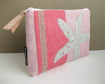 XL zipper POUCH - dusty pink linen and cotton canvas with stone beige starfish applique