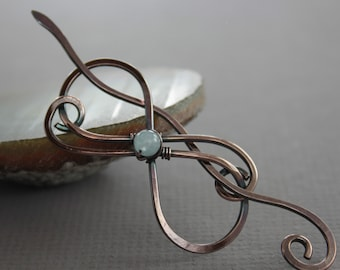 Infinity shawl pin or scarf pin with copper and aquamarine stone - Aquamarine pin - Gemstone pin -SP024