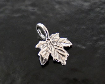 2 Sterling Silver Maple Leaf Charms 8x11mm