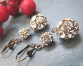 Discotheque.....Large Vintage Rhinestone Double Bead Ball Earrings