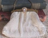 Vintage Whiting and Davis White Mesh Handbag 2856