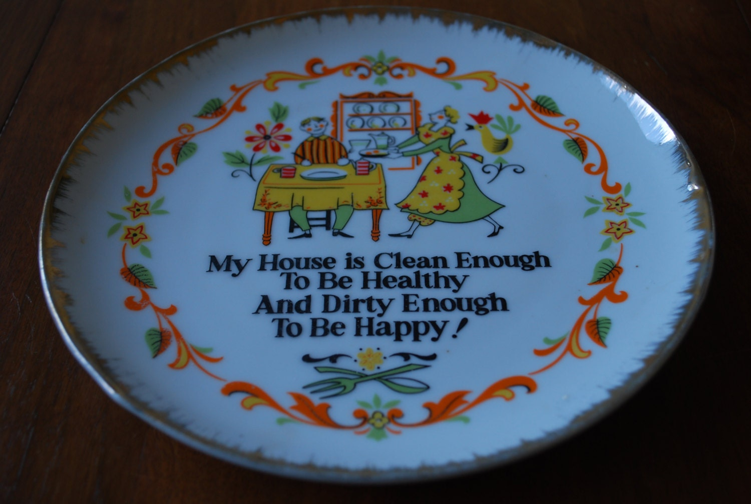 Vintage Decorative Kitchen Wall Plate Housework Midcentury