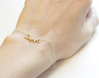 Love Bracelet | Cursive Love Bracelet | 14kt Gold Filled or Sterling Silver | Chain Bracelet