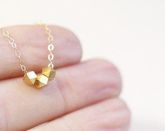 Gold Nugget Necklace | Tiny Gold Nugget Necklace | 14kt Gold Filled Chain
