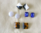 4 pairs of vintage costume CLIP ON earrings. Lucite, plastic, glass clip on earrings