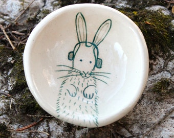 Bunny with Headphones - Pinch Pot by Lora Shelley