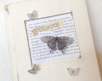 The Marbled White Butterfly - 3D Mixed Media Encaustic Altered Book