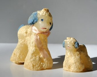 Vintage lamb candles 1950s Easter candles sheep baby lamb candle by Jewels of Light