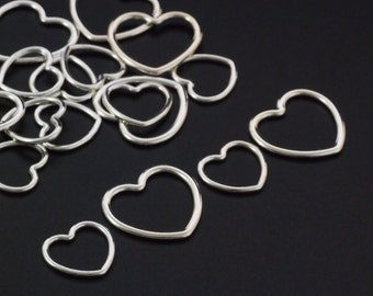 Sterling Silver Heart Components - Medium or Large - 100% Guarantee