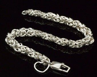 Sterling Silver Bracelet - On Edge Square Beyond Basic Byzantine Chainmaille Kit or Ready Made