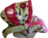 Infant Car Seat Cover Rocco Paisley With Hot Pink Rose--Moves to Toddler