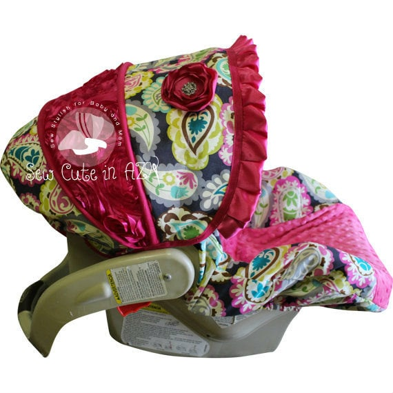 items similar to infant car seat cover rocco paisley with hot pink rose moves to toddler on etsy. Black Bedroom Furniture Sets. Home Design Ideas