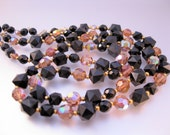 Black & Amber Double Strand Necklace Glass AB 1950s Vintage Jewelry