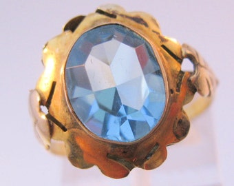 Vintage 10K Yellow Gold Blue Topaz Stone Ring Size 7