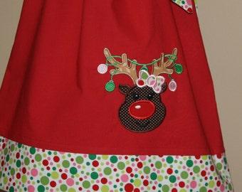 reindeer Christmas dress,  applique Pillowcase dress, Christmas holiday outfit , toddler dress