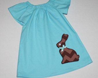 sweet chocolate bunny Easter dress - Peasant dress - girls dresses - baby Easter dress - toddler Easter dress, matching sister dresses,