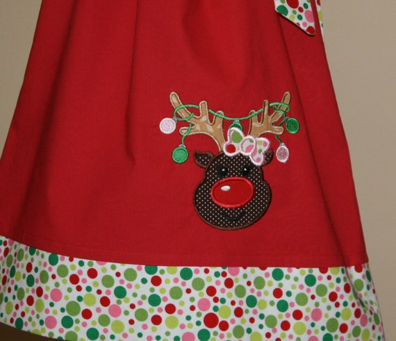 Pillowcase dress reindeer applique christmas dress christmas outfit