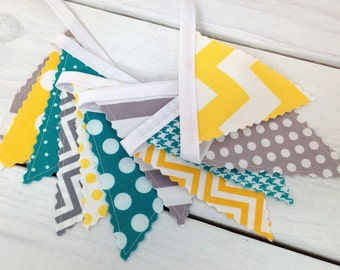 Bunting Banner Mini, Fabric Banner, Fabric Flags, Baby Nursery Decor - Turquoise, Gray, Yellow, Grey, Chevron, Dots, Stripes