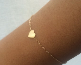 Gold Heart Bracelet, Heart Bracelet, 14k Gold Heart, Love Bracelet, Bridesmaid Gifts, Friendship Bracelet, ID Bracelet, Mothers Day Gift
