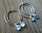 Sterling Silver Hoop Earrings / Blue Flash Moonstone or Labradorite Gemstone Dangles / Fashion Jewelry Gift For Her