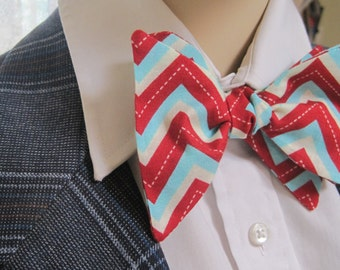 Red and Turquoise Zig Zag Bow Tie