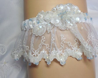 Hand Beaded Garter in White satin and lace with Blue Lace Agate beads hand sewn throughout. FREE TOSS GARTER