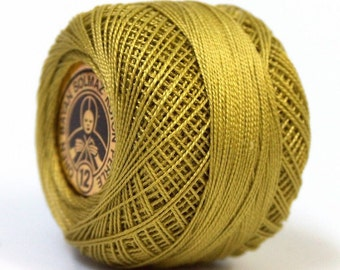 Oren Bayan Cotton Perle 12 #54 28777 Medium Olive Green 100% Mercerized Cotton Embroidery Crochet Tatting Cross Stitch Thread 5gr 65y