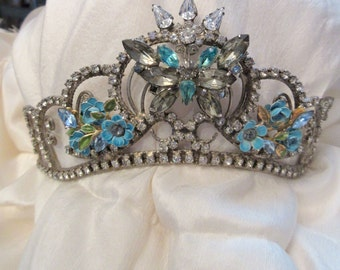 Vintage Rhinestone Tiara Embellished with Vintage Jewelry, Aqua, Butterfly, Flowers