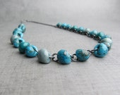 Turquoise Glass Necklace, Lampwork Turquoise Necklace, Beaded Necklace, Oxidized Necklace