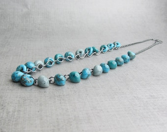 Mottled Turquoise Blue Necklace, Blue Turquoise Glass Necklace, Blue Beaded Necklace, Lampwork Necklace Blue, Dark Sterling Silver Necklace