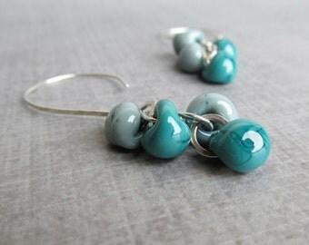 Misty Teal Earrings, Teal Cluster Earrings, Teal Dangle Earrings, Argentium Silver Wire Earrings
