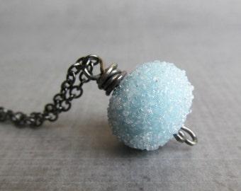 Light Blue Necklace, Lampwork Necklace Blue, Blue Sugar Bead Necklace, Blue Glass Necklace, Blue Pendant Necklace, Oxidized Sterling Silver