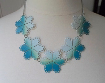 Ombre Flowers Bib Necklace - Teal Sunset - Hand Painted Vintage Metal