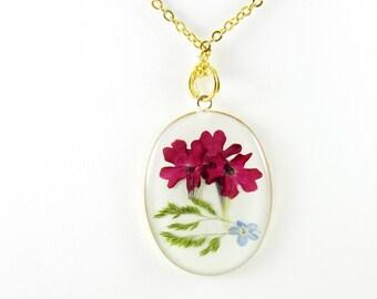 Sweet Verbena,  Real  Flowers in resin, pressed flower jewelry, real flower jewelry  (1576)