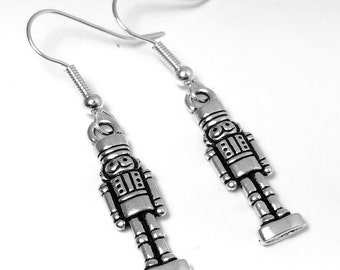 Nutcracker earrings - Christmas gift - Christmas jewelry - toy soldier earrings - holiday gift - sterling silver - UK