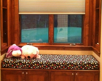 Custom Sewn  Window Seat Cushion with Cording Playroom, Nursery, Bench Seat , Chair Pad You Choose the Fabric
