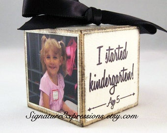 Personalized Kids Photo Block Ornament in Ivory, Custom Children's Ornament