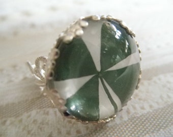 4 Leaf Clover Victorian Filigree Crown Ring Beneath Glass, Symbolizes Good Luck,Love,Hope,Faith-Nature's Wearable Art-Gifts Under 25