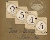 Vintage Manuscript Numbers Tags Digital Download