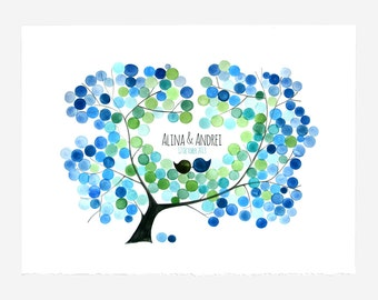 Wedding Guest Book print gift idea - Alternative Guestbook wedding tree Art Print - AMUR MAPLE TREE watercolor tree
