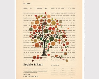 Quaker Marriage Certificate art print - Vintage Book Page Two Columns Featuring Love Poems - Windy Day Fall Tree